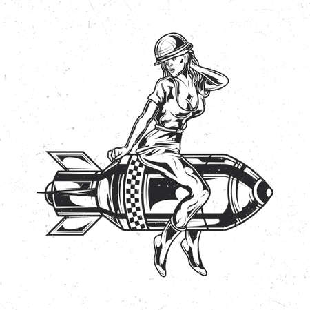 Isolated emblem with illustration of girl sitting on the bomb