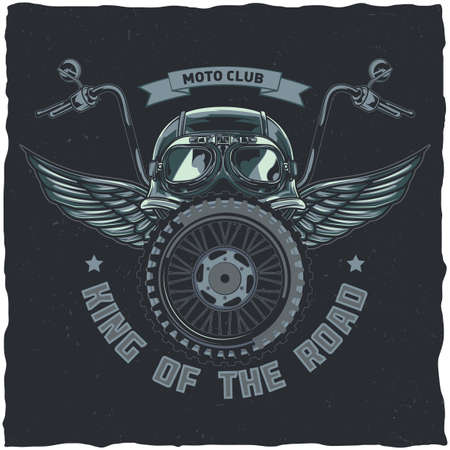 Motorcycle theme t-shirt label design with illustration of helmet, glasses, wheel and wings Vectores