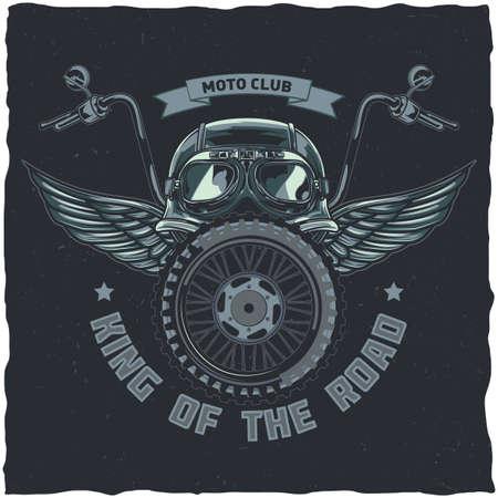 Diseño de etiqueta de camiseta con tema de motocicleta con ilustración de casco, gafas, rueda y alas