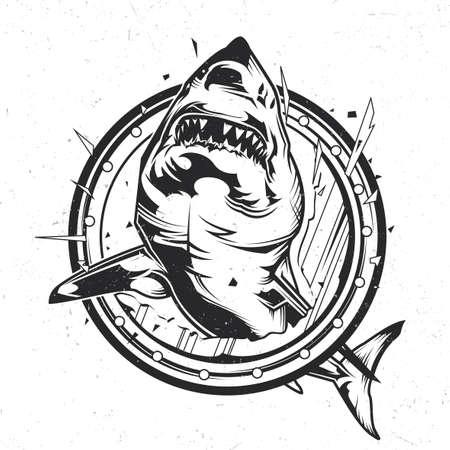 Emblema isolato tema nautico con l'illustrazione dello squalo arrabbiato Archivio Fotografico - 99871240