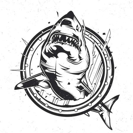 Nautical theme isolated emblem with illustration of angry shark