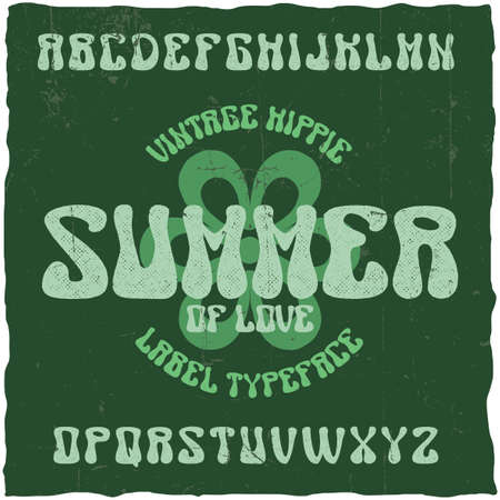 Vintage label typeface named Summer. Good font to use in any hippie style labels.