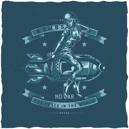 T-shirt label design with illustration of girl sitting on the bomb