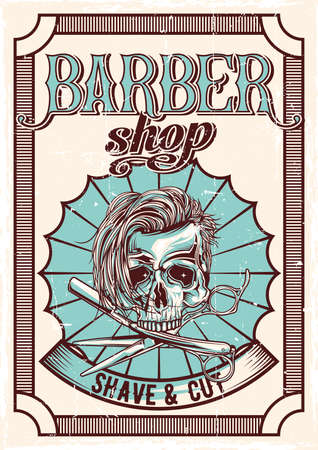 Barbershop theme vintage poster design with illustration of hairy skull, razor and scissors 向量圖像