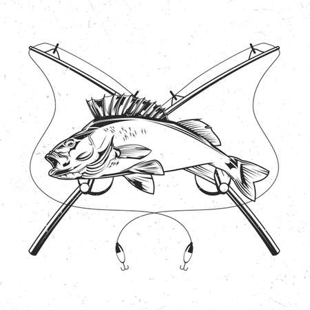 Isolated illustration of fish with two fishing rods Illustration
