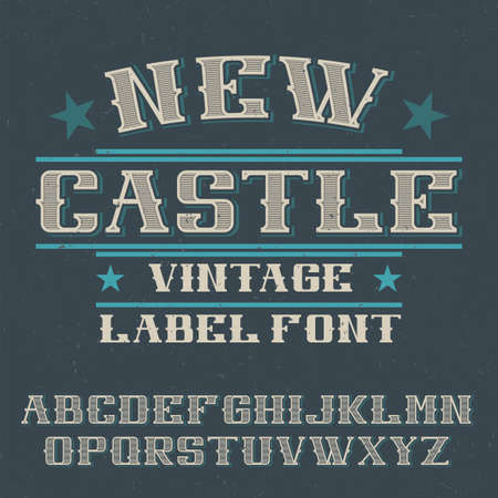 Vintage label typeface named New Castle. Good font to use in any vintage labels or logo.  イラスト・ベクター素材