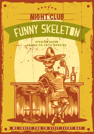 Poster design with illustration of mexican drunk skeleton Vettoriali