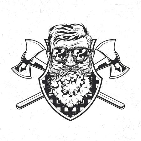 Lumberjack theme isolated emblem with illustration of bearded man in glasses with two axes