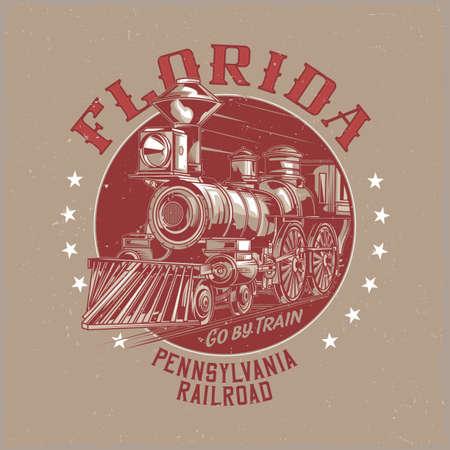 T-shirt label design with illustration of classic train Illustration