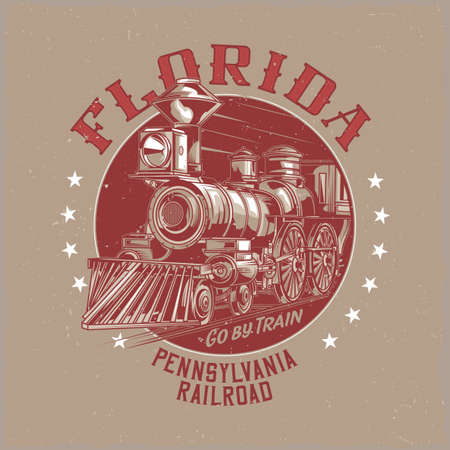 T-shirt label design with illustration of classic train 向量圖像
