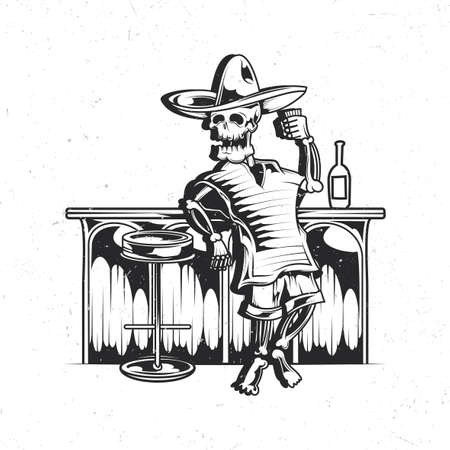 Isolated emblem with illustration of mexican drunk skeleton