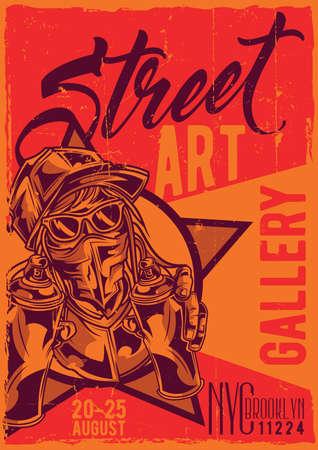 Poster label design with illustration of street artist