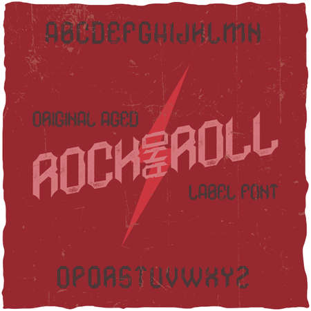 Vintage label typeface named RockAndRoll. Good font to use in any vintage labels or logo.