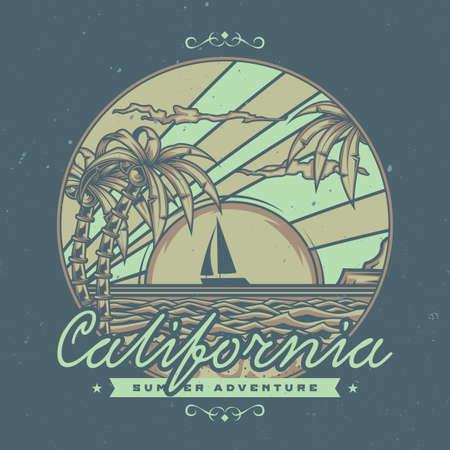 T-shirt o poster design con illustrazione della spiaggia con palme e tramonto sullo sfondo