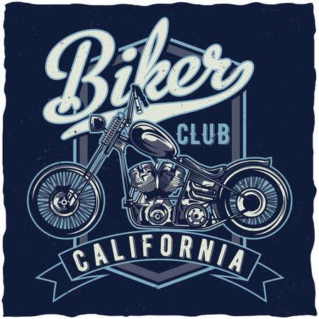 Motorcycle theme t-shirt label design with illustration of custum bike Illustration