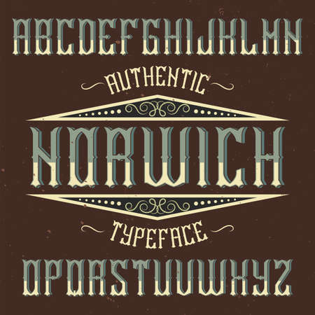 Vintage label typeface named Norwich. Good font to use in any vintage labels or logo.  イラスト・ベクター素材
