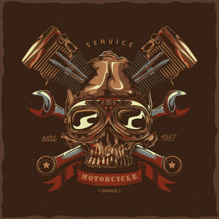 T-shirt label design with illustration of mechanic skull Vectores