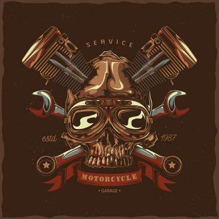 T-shirt label design with illustration of mechanic skull Stock Illustratie