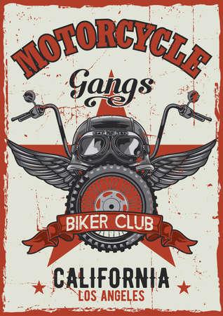 Diseño de cartel vintage con tema de motocicleta con ilustración de casco, gafas, rueda y alas