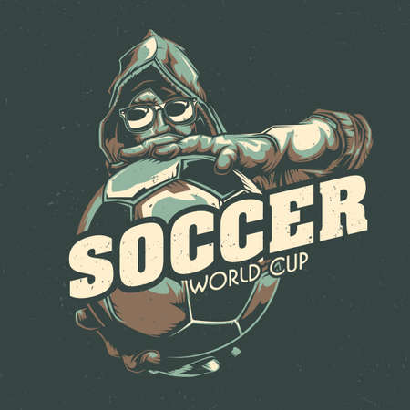 T-shirt label design with illustration of the soccer player who holds the ball