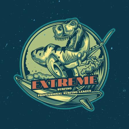 T-Shirt oder Poster-Design mit Illustration des Dinosauriers auf dem Surfbrett. Handgezeichnete Abbildung.