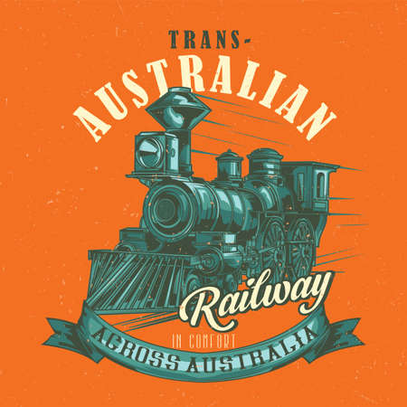 T-shirt label design with illustration of classic train Illustration