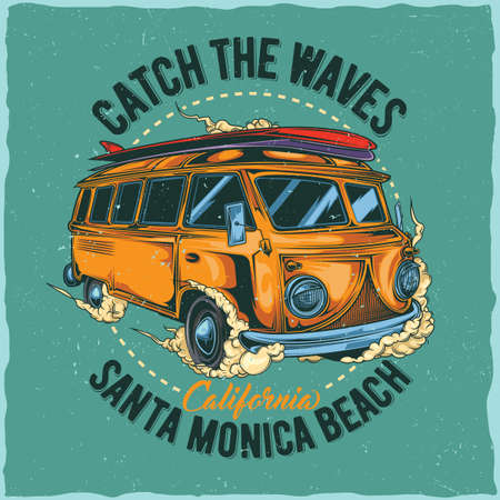 T-shirt label design with illustration of hippie surfing bus