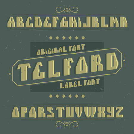 Vintage label typeface named Telford. Good font to use in any vintage labels or logo.  イラスト・ベクター素材
