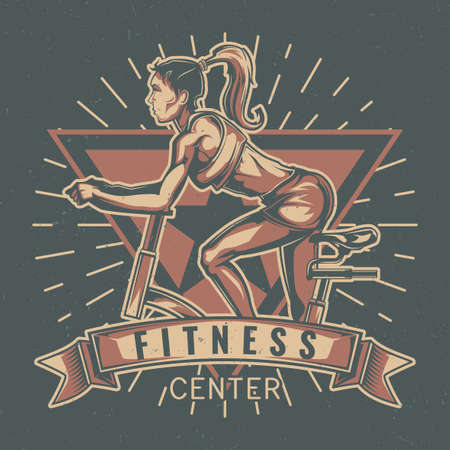 T-shirt label design with illustration of girl on the exercise bike
