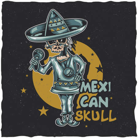 T-shirt label design with illustration of mexican musician Vettoriali