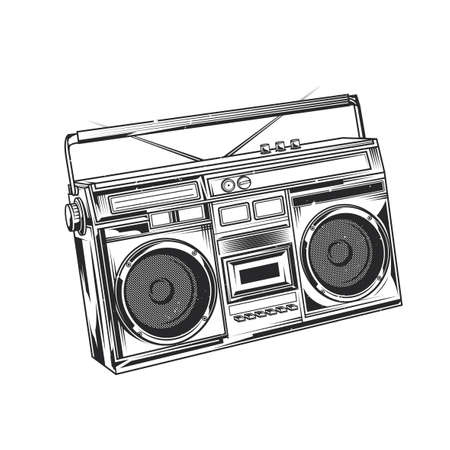 Emblem design with illustration of old school boombox Vectores