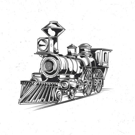 Emblem label design with illustration of classic train