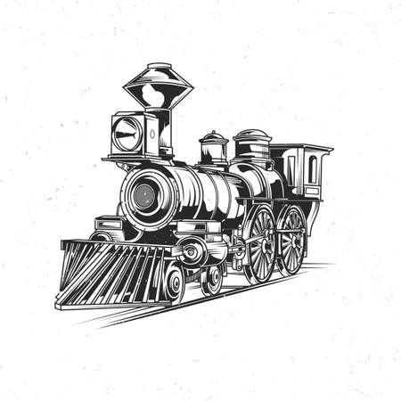 Emblema etichetta design con illustrazione del treno classico Vettoriali