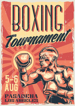 Poster label design with illustration of box fighter