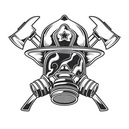 Emblem design with illustration of helmet with Crossed Axes. Hand drawn illustration.