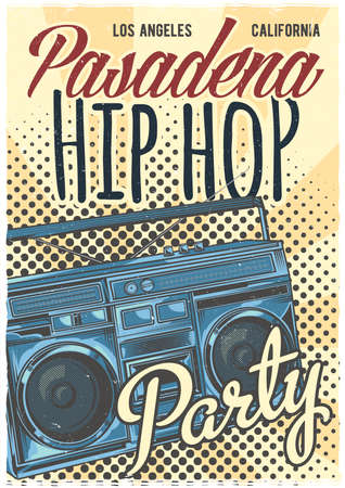 T-shirt or poster design with illustration of old school boombox