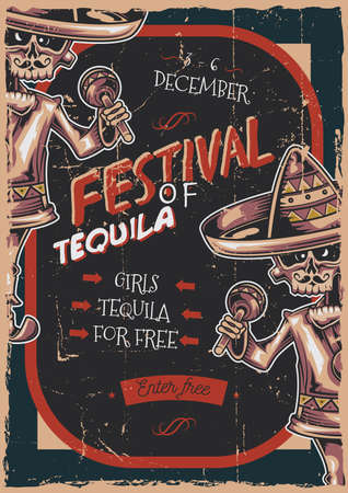 Poster label design with illustration of mexican musician Vettoriali
