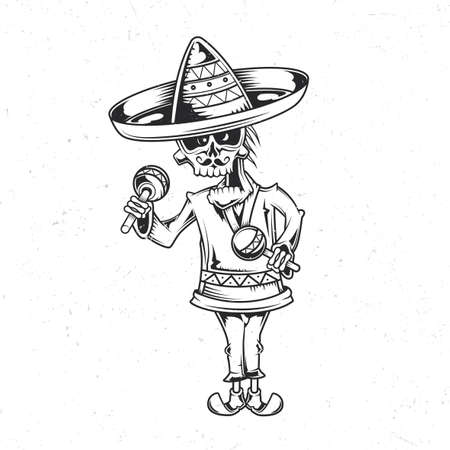 Emblem design with illustration of mexican musician Vettoriali