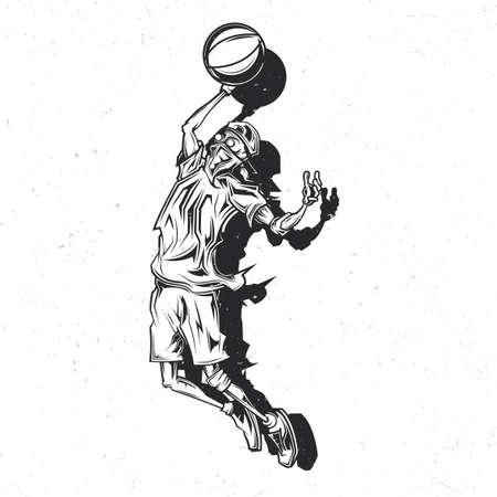 Création d'étiquettes emblème avec illustration du joueur de streetball