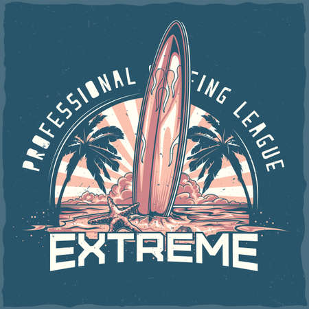 T-shirt label design with illustration of surfing board standing on the beach with palms and sunset on the background Ilustração
