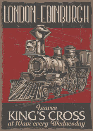 Poster label design with illustration of classic train Imagens - 105096981