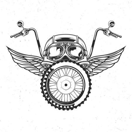 Emblema aislado del tema de la motocicleta con la ilustración del casco, gafas, rueda y alas