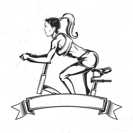 Emblem design with illustration of girl on the exercise bike