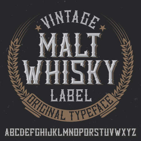 Vintage label typeface named Malt Whiskey. Good font to use in any vintage labels or logo.