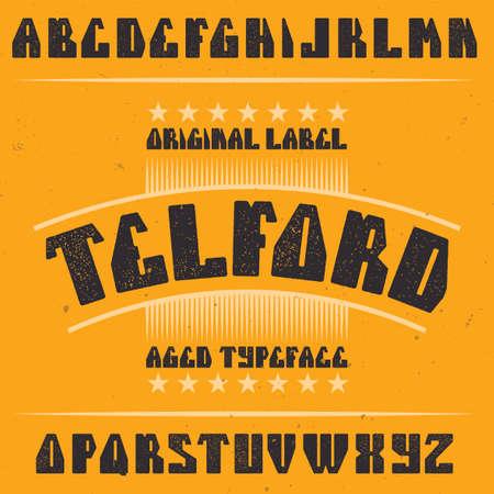 Vintage label typeface named Telford. Good font to use in any vintage labels or logo. Illustration