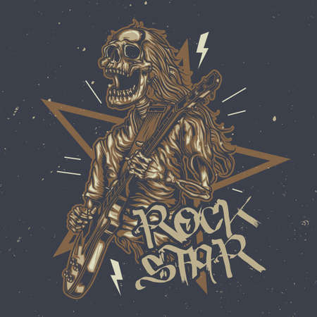 T-shirt or poster design with illustration of skeleton playing guitar