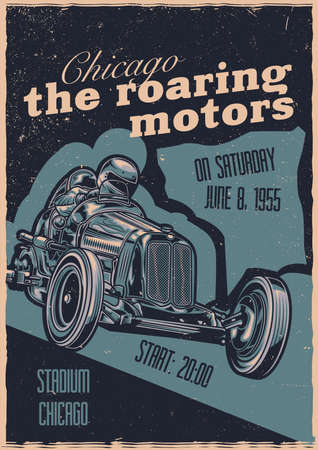 T-shirt or poster design with illustration of custom hot rod. Hand drawn illustration.
