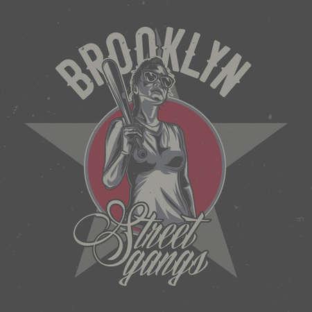 Diseño de camiseta o póster con ilustración de niña en gafas de sol con bate de baloncesto en mano Ilustración de vector
