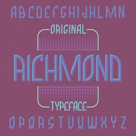 Vintage label typeface named Richmond. Good font to use in any vintage labels or logo. Illustration
