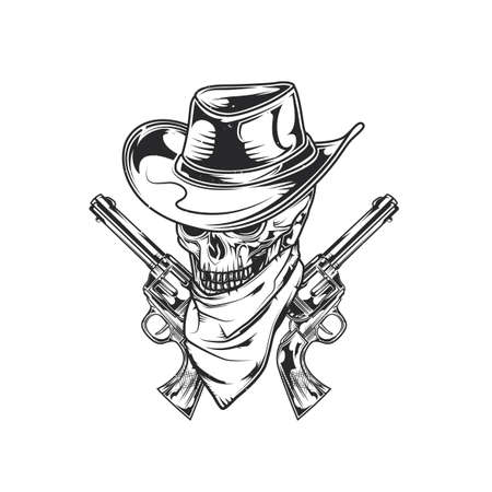 Emblem design with illustration of skull ath the hat with two guns at the hands. Hand drawn illustration.